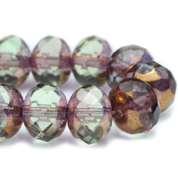 Olive Lavender Bronze Rondelle Czech Glass Beads 7x5mm (10 pcs) 383V3