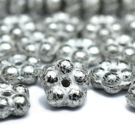 Silver Czech Glass Forget-Me-Not Flower Beads 5mm (50 pcs) 412V3
