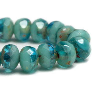 Capri Blue Turquoise Picasso Rondelle Czech Glass Beads 5x3mm (30 pcs) 321V3