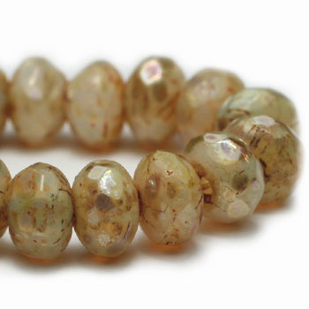 Beige Brown Picasso Rondelle Czech Glass Beads 5x3mm (30 pcs) 297V3
