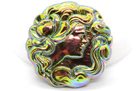 RESTOCK Rare Vintage Rainbow Iridescent Woman Czech Glass Button 40mm (1 piece) 65V25