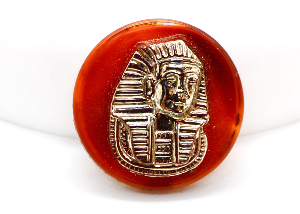 NEW Vintage Silver Carnelian Color Glass King Tut Cabochon 18mm (1 piece) 14V31
