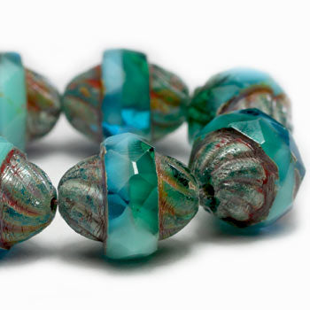Turquoise Emerald Turbine Czech Glass Beads 11x10mm (6 pcs) 341V3