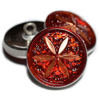 Red Copper Star Flower Czech Buttons 18mm (1 pc) 104BV3