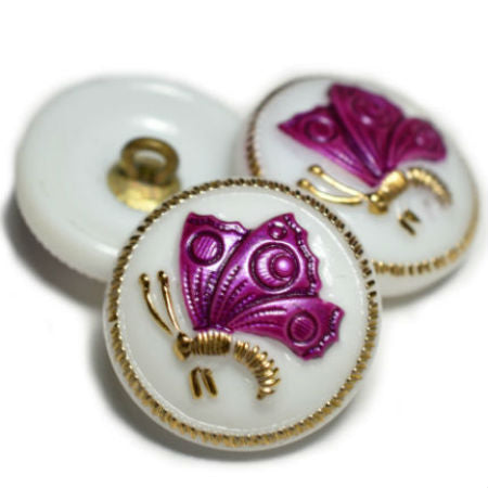 White Magenta Gold Butterfly Czech Glass Button 18mm (1 pc) 98BV3