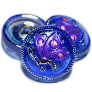 RESTOCK Cobalt Blue Purple Silver AB Butterfly Czech Glass Buttons 18mm (1 pc) 97BV3