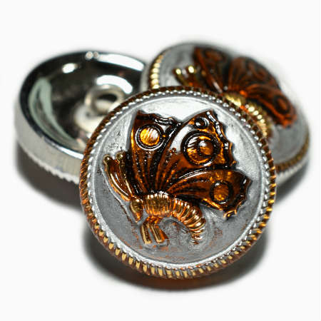 18mm Amber Silver Gold Butterfly Czech Glass Buttons