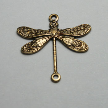 Antique Brass Dragonfly Connector Oxidized Brass 17x12mm