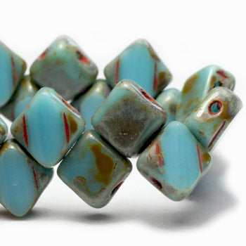 Blue Turquoise Silky Glass Beads Silky Beads 6mm (10 pcs) 182V3