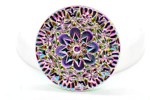 NEW Rare Unique Vintage Iridescent Rainbow Lacy Czech Glass Button 37mm (1 piece) 66V25