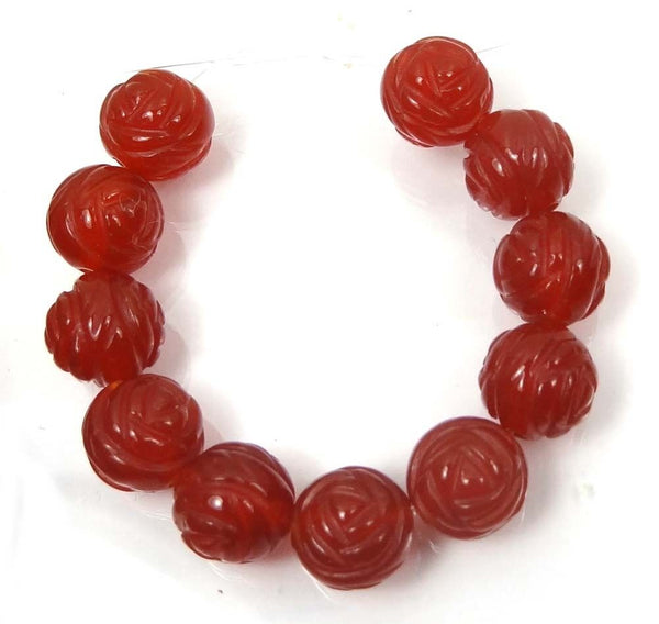 NEW Carved Rose Carnelian Agate Beads 10mm (1 pcs) 38V31