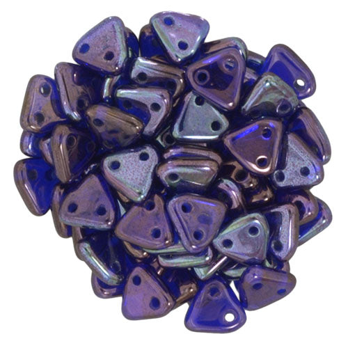 LAST CHANCE Cobalt Vega CzechMate 2 Hole Triangle Beads 6mm (5 grams) 19V20