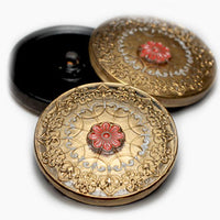 Gold Czech Glass Buttons Gold Relief Round 32mm (1 pc) 83BV3