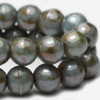 Green Gray Druk Green Pressed Czech Beads 4mm (50 pcs) 361V3