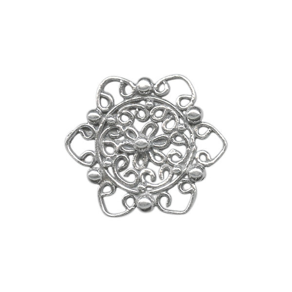 Sterling Silver Floral Filigree Stamping Jewelry Supplies 13x15mm (1 pc) 12V13