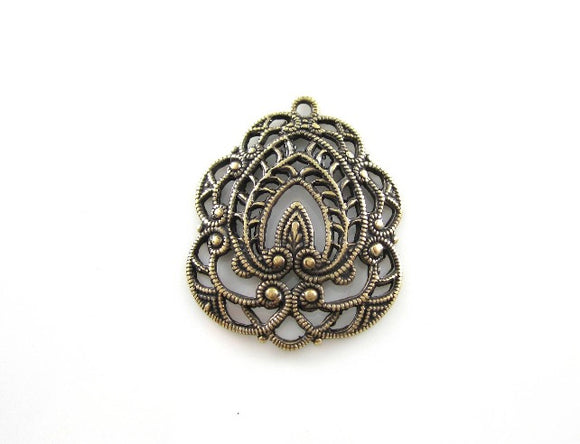 Oxidized Stamped Filigree Brass Pendant Connector 26x22mm (1 pc) 145V5
