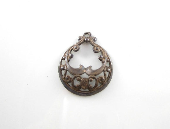 Oxidized Stamped Filigree Brass Pendant German Filigree Brass Connector 30x22mm (1 pc) 149V5