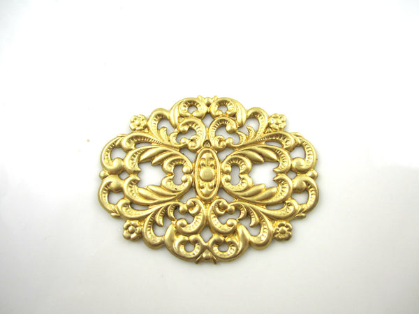 Raw Brass Carved Oval Filigree Jewelry Supplies 45x36mm (1pc) 98V7