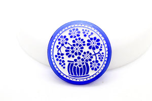 NEW Vintage Blue White Glass Flower Basket Cabochon 25mm (1 pc) 318V10