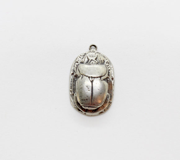 NEW Vintage Pewter Scarab Hieroglyphics With Loop 27x16mm (1pc) 224V10
