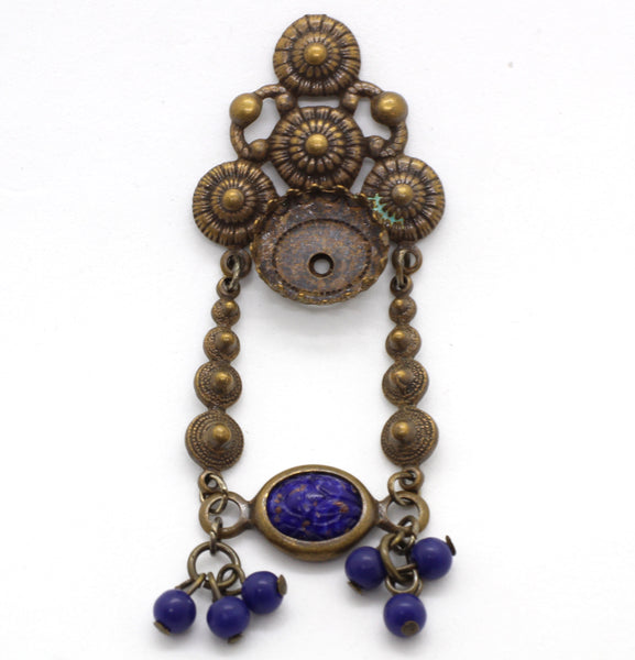 NEW Vintage Brass Pendant Cobalt Blue Stone and Beads 67x24mm (1 piece) 179V10