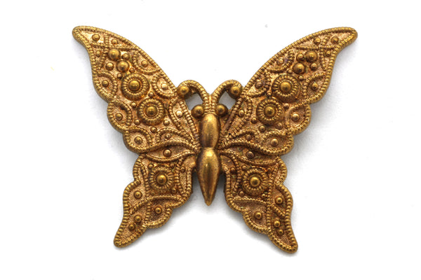 NEW Vintage Brass Embossed Butterfly Stamping 42x33mm (1 piece) 161V10