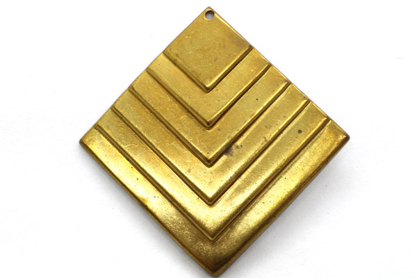 NEW Vintage Brass Art Deco Layered Diamond Stamping 36mm (1 piece) 148V10