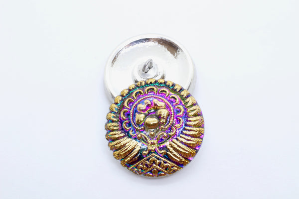 LIMITED SUPPLY Teal Purple Gold Peacock Czech Glass Button 23mm (1 pc) 27VLTD