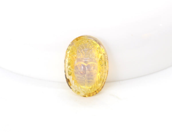 NEW Vintage Opalized Gold Foil Egyptian Revival Scarabs 14x10mm (1 piece) 315AV10
