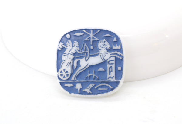 RESTOCK Vintage Blue Revival Chariot Glass Vintage Pharaoh Cameo 20mm (1 piece) 33V8