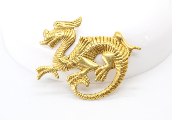 NEW Raw Brass Gold Dragon Stamping Jewelry Finding 41mm (1 pc) 2V36