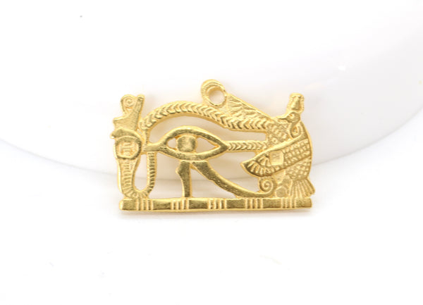 RESTOCK Vintage Brass Eye of Horus Egyptian Revival God Stamping 23x14mm (1 pc) 245V10