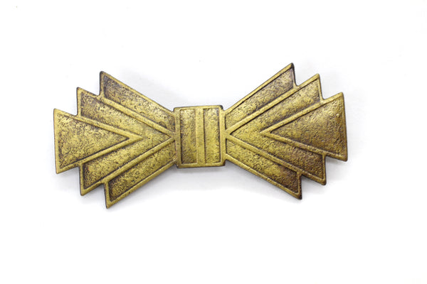 NEW Vintage Art Deco Geometric Bow Pin Brooch Antique Brass 56x26mm (1 pc) 13V31