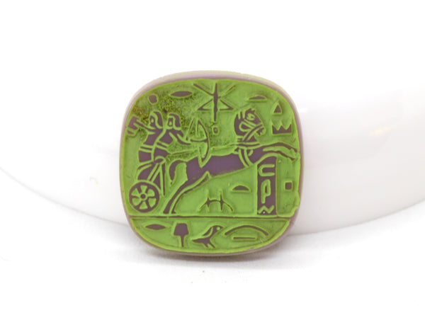 NEW Vintage Purple Green Egyptian Revival Chariot Cabochon 20mm (1 pc) 35V31