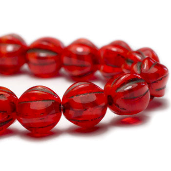 NEW Ladybug Red Brown Wash Melon Czech Glass Beads 6mm (25 pcs) 412AV3