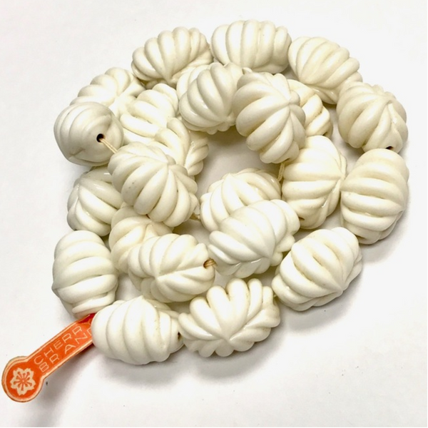 Vintage White Cherry Brand Miriam Haskell Fluted Beads 20x14mm (2 pcs) 12V28