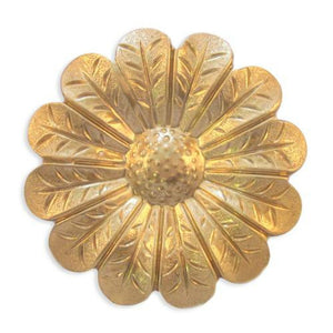 Raw Brass Raised Flower Stamping Focal Jewelry Finding 68mm (1 pc) 72V17