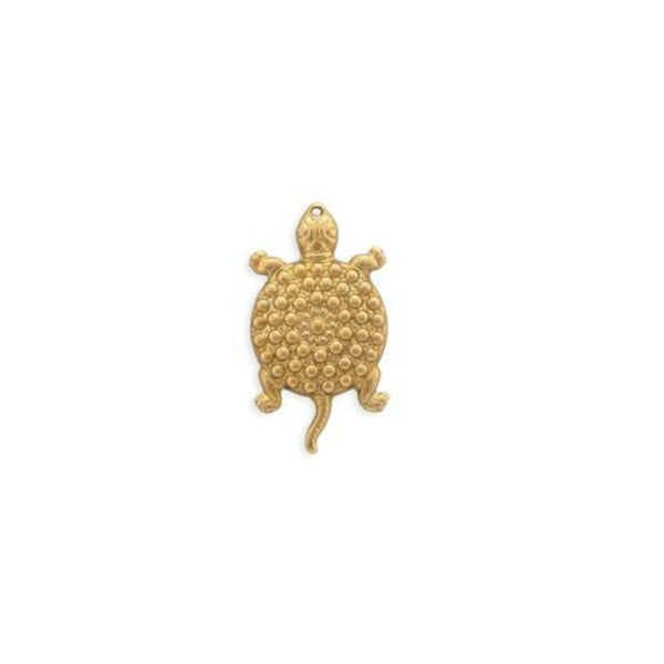 Raw Brass Turtle Charm Pendant Jewelry Making Finding 24mm (2 pcs) 55V17