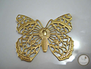 Raw Brass Stamped Butterfly Filigree Jewelry Supplies 50x38mm (1 pc) 45V7