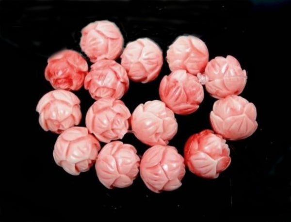 NEW Pink Lotus Flower Shell Beads 10mm (1 pc) 40V31