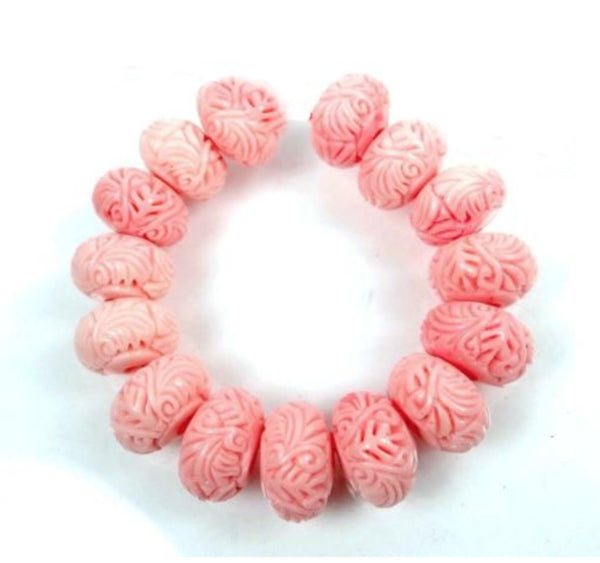 NEW Carved Rondelle Pink Shell Beads 12x7mm (2 pieces) 41V31