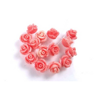 NEW Pink Shell Rose Flower Beads 10mm (2 pieces) 43V31