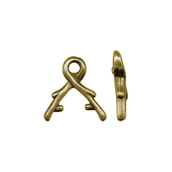 EVENT TierraCast Vine Prong Pinch Bail Small Antiqued Gold Plated Pewter 10x9mm (1 piece) E5-002