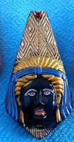 NEW Rare Antique Blue Gold Czech Glass Pharaoh Revival Button 42mm (1pc) 56V25