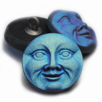 Small 18mm Moon Face Blue Czech Glass Buttons (1 pc) 41BV3