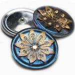 Sapphire Blue Gold Czech Glass Buttons Blue Buttons 38mm (1 pc) 31BV3