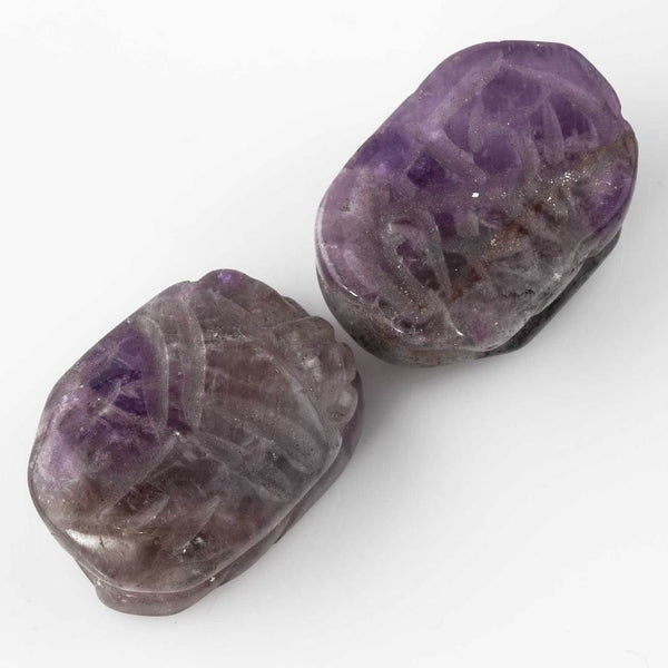 Carved Cape Amethyst Scarab Beetle Beads Purple Scarab 18x13mm (1 pc) 120V5