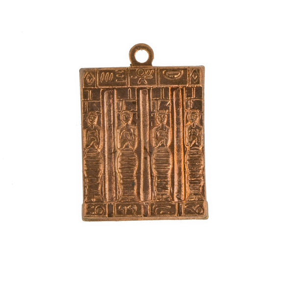 NEW Vintage Egyptian Revival Table Hieroglyphics Figures Brass Stamping 15x12mm (1 piece) 177V5
