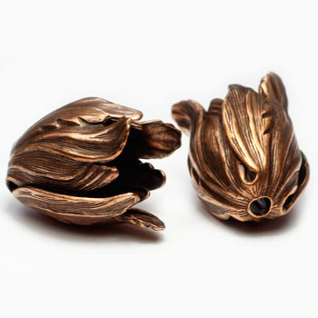 Antique Copper Plated Brass Tulip Bead Caps 11X9mm