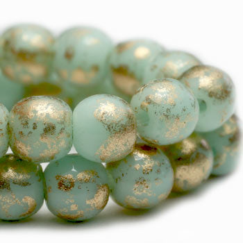 Mint Gold Druk Czech Glass Beads 4mm (50 pcs) 396V3